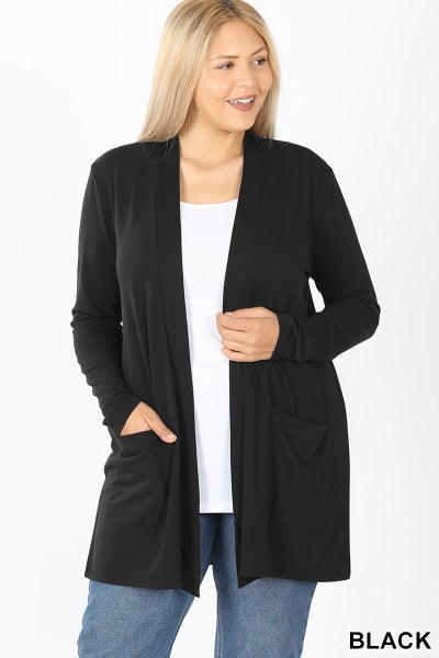 SLOUCHY POCKET OPEN CARDIGAN - CURVY