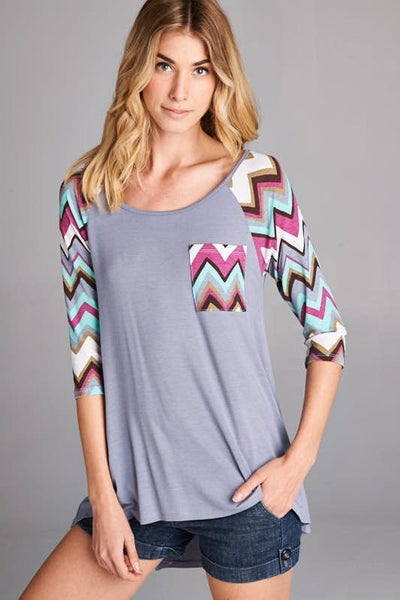 Chevron Sleeve Raglan