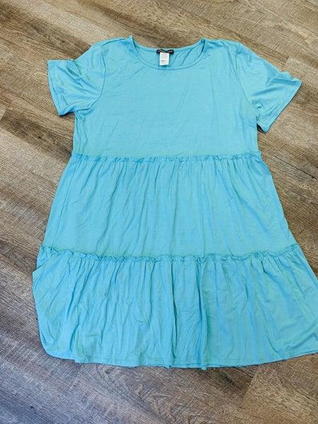 Teal Ruffle T-shirt Style Dress