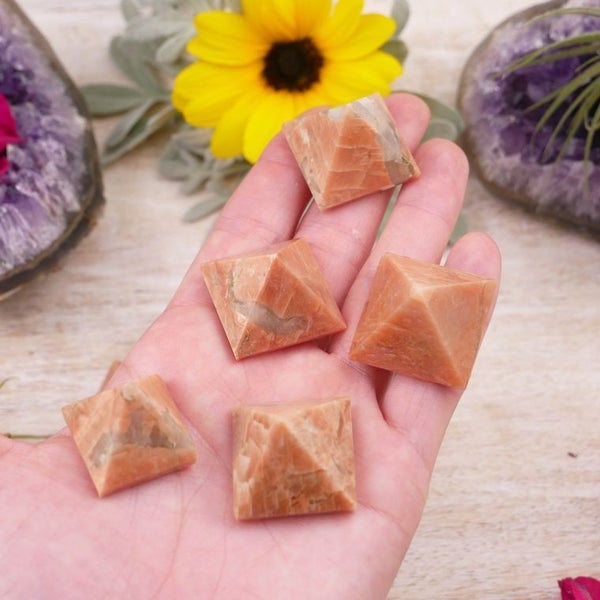Peach Moonstone Pyramids