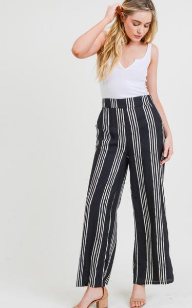 Vintage Stripe Printed Elastic Wide Leg Pants