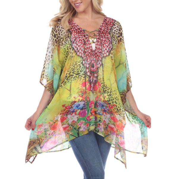 Animal Print Caftan with Tie-up Neckline-Yellow