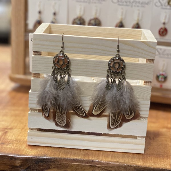 Round Brass Feather Earrings - Brown