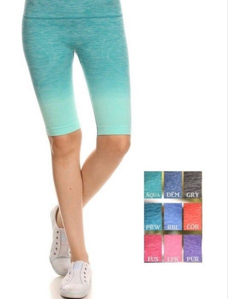 Ombre Athletic Capri Leggings w/High Waist Band-Teal