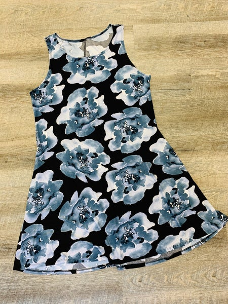 Black Big Blue Floral Print Dress
