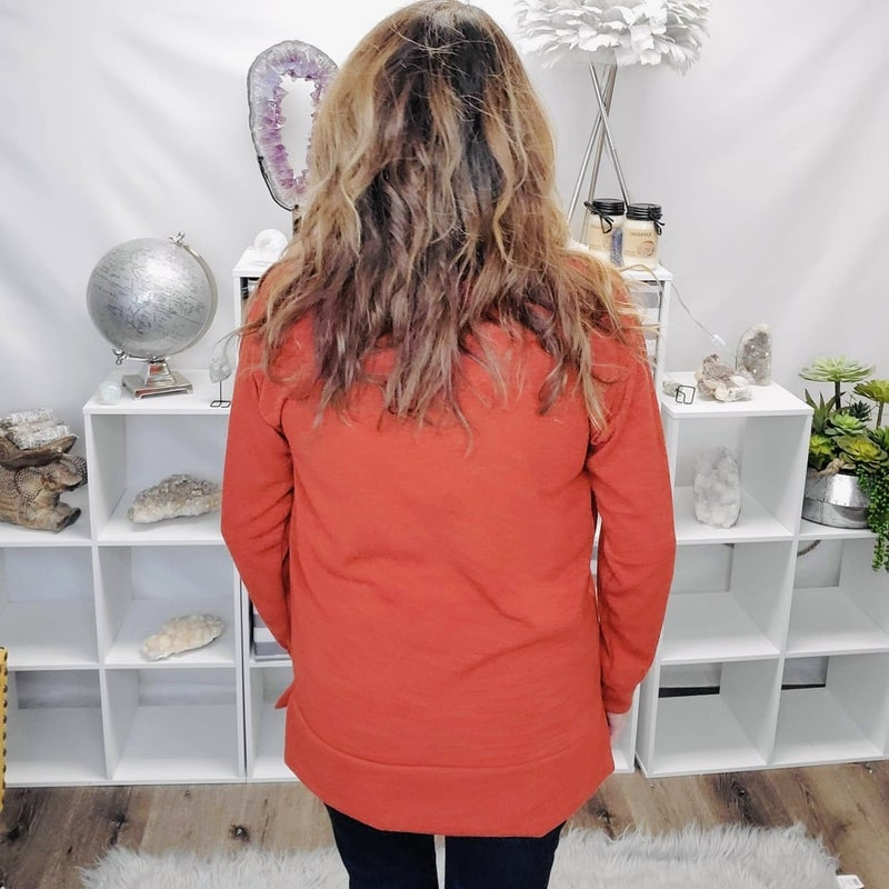 Rust Beauty - Sweater Meets Sweatshirt Top
