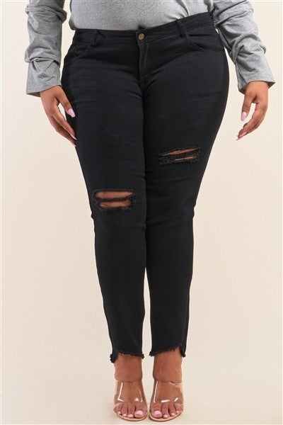 Curvy Black Mid Rise Ripped Denim Jeans