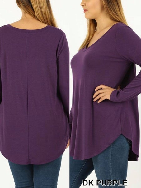 PLUS PREMIUM LONG SLEEVE V-NECK ROUND HEM TOP