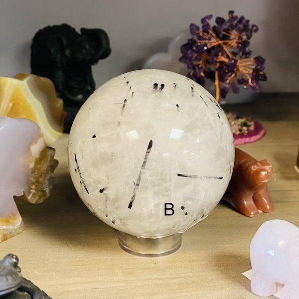 Tourmalinated Quartz Sphere - Random