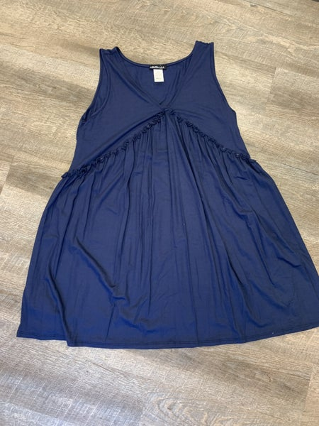 Navy Tunic Dress - Ruffle