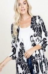 Black / White Damask Kimono