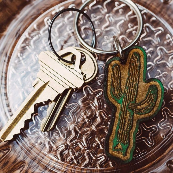 Cactus  Wooden Keychain