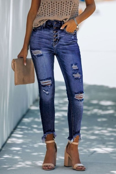 Blue High Rise Button Front Frayed Ankle Skinny Jeans