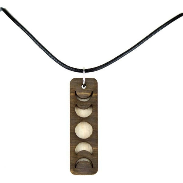 "Moon Phases Cut Necklace Pendant With 18"" Black Cord"