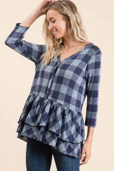 Plaid Baby Doll Navy