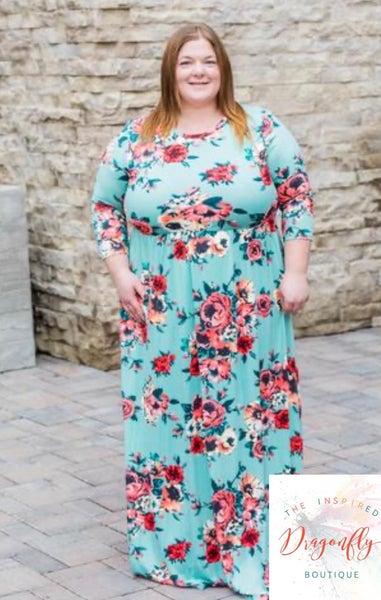 Jasmine Floral Maxi Dress - Mint