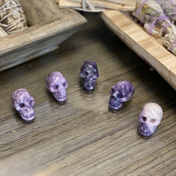 Lepidolite Skull Carving - Random