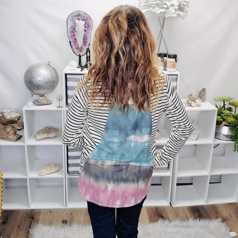 Just A Little Tie Dye With Strip Fun Top
