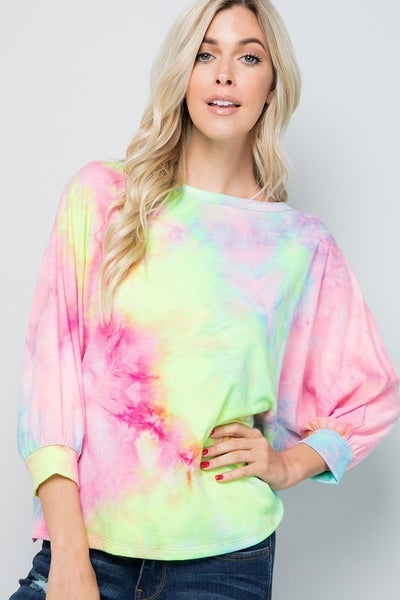 Open Back Tie Dye Print Top