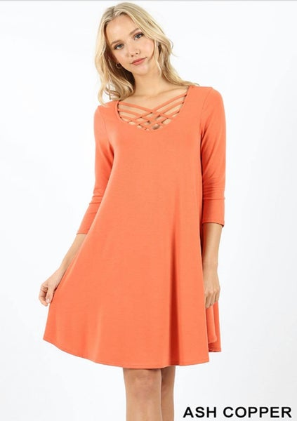 PREMIUM FABRIC 3/4 SLEEVE TRIPLE LATTICE DRESS WITH SIDE POCKETS-Ash Copper *Final Sale*