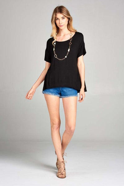 Jersey Casual Short Sleeve  Ruched Top -Reg