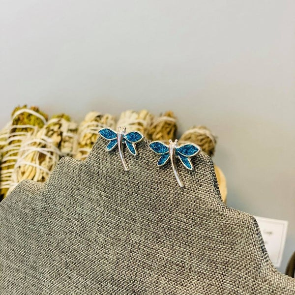 Dragonfly Teal Blue Earrings