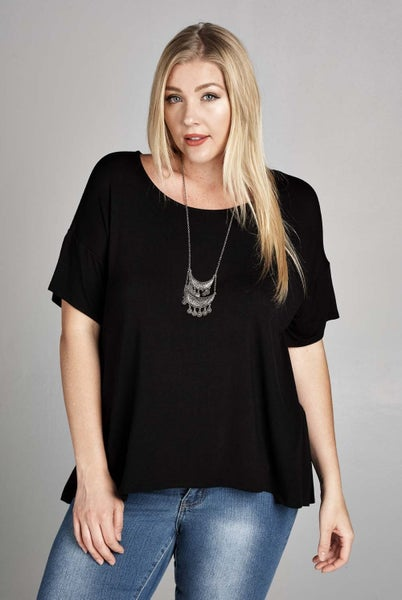 Jersey Casual Short Sleeve Ruched Top - Curvy