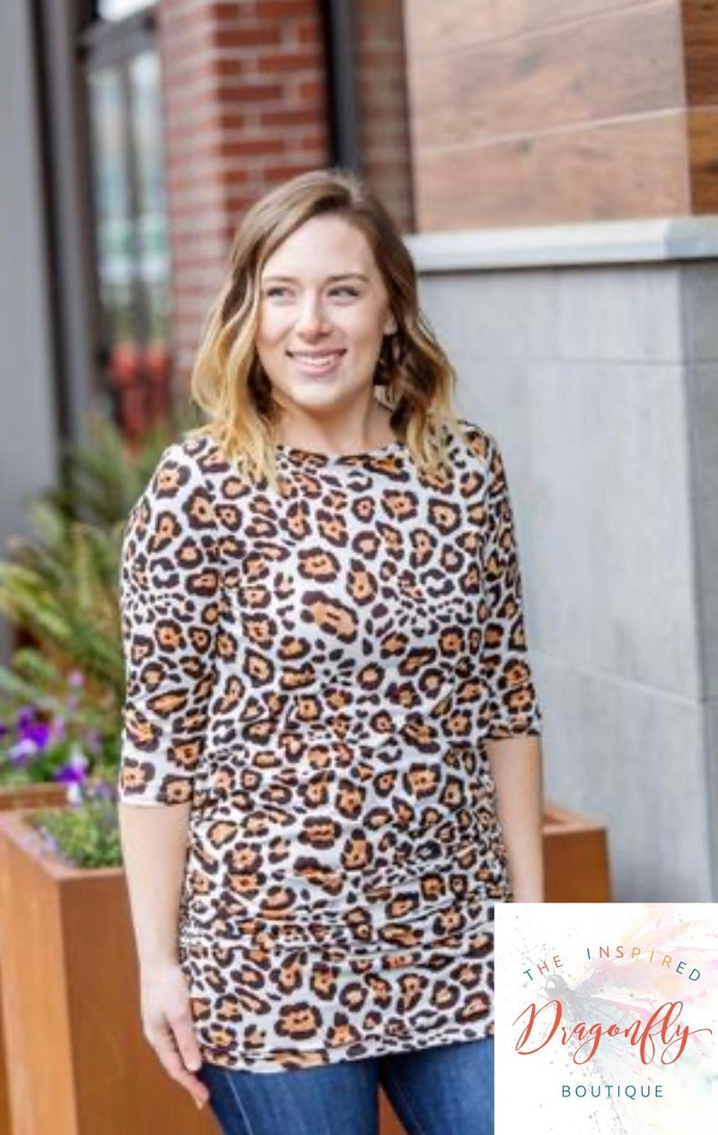 Ruched Tunic 3/4 Sleeve Top - Cheetah