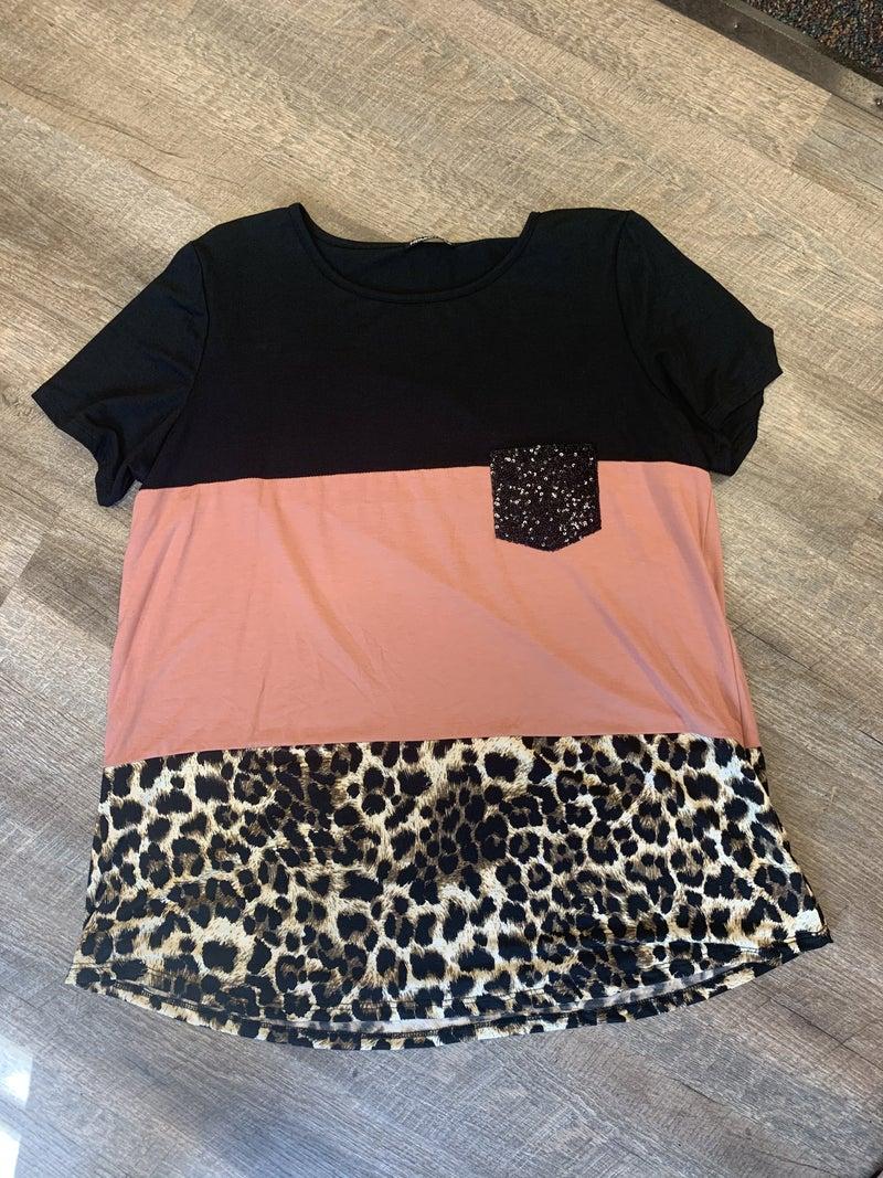 Mauve Cheetah Sparkle Pocket Top