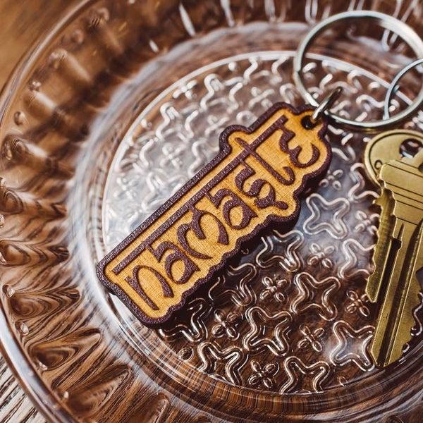 Namaste Wooden Keychain