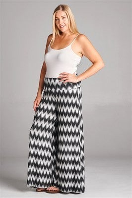 Chevron Print Wide Leg