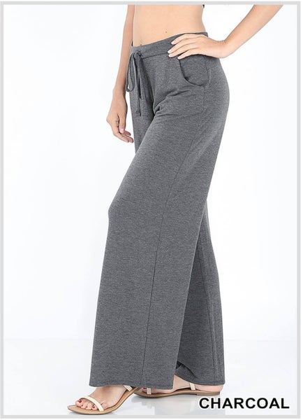PREMIUM FABRIC LOUNGE PANTS LOOSE FIT WITH DRAWSTRING WAIST - CHARCOAL