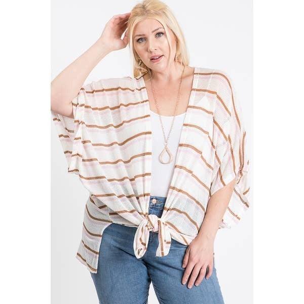 Loose fit striped kimono