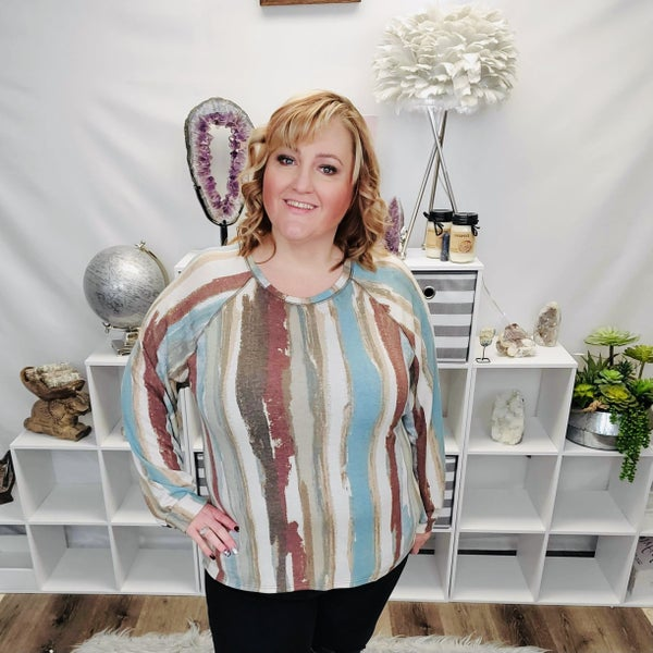 Vertical Stripe Long Sleeve Top - Boho Comfort