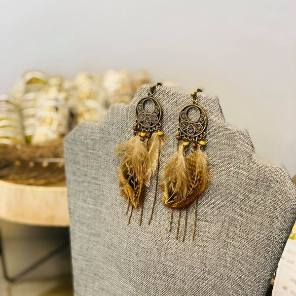 Round Brass Feather Earrings