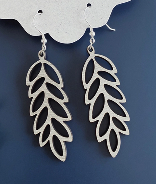 Wood Earrings - Olive Branch
