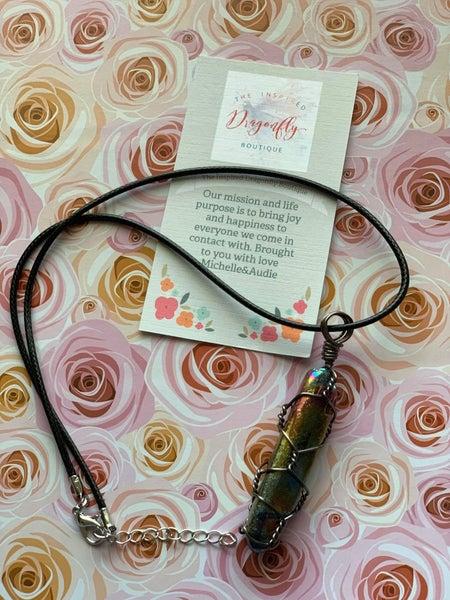 Aurora Quartz - Necklace - Custom Wrapped