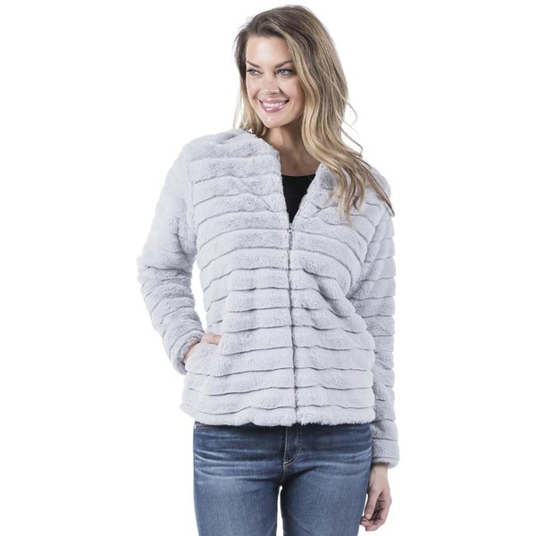 Gray Faux Rabbit Fur Jacket with Pockets