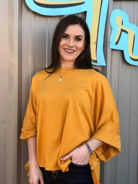 Mustard Poncho Style Top