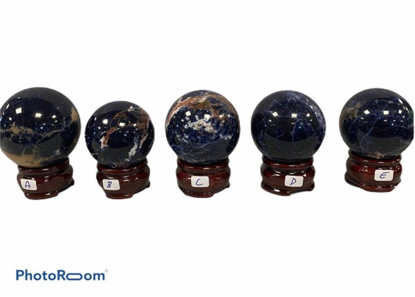 Sodalite Spheres - Random (With Stand)