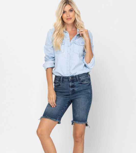 High Rise Cut Off Bermuda Shorts - Judy Blue
