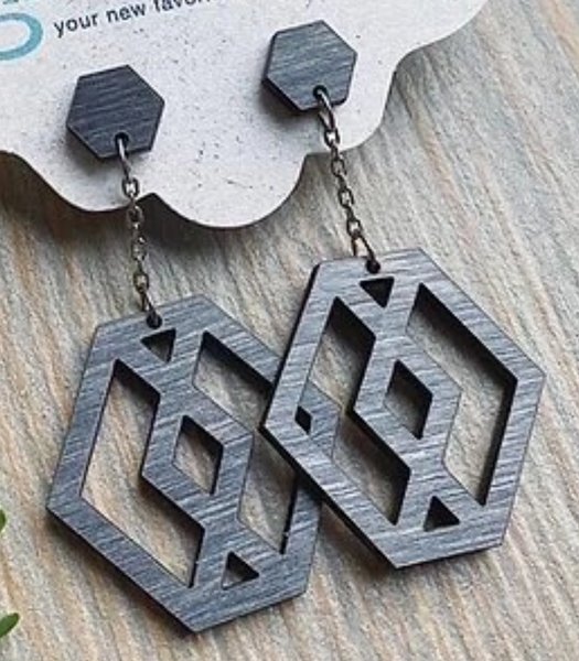 Wood Earrings - Hex Drop