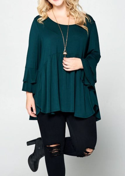 Hunter Green Swing Top / Button Accents