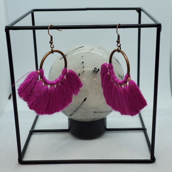 Fushia Tassel Earrings