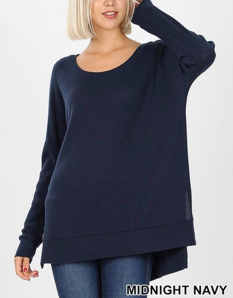 BRUSHED THERMAL WAFFLE SWEATER HI-LOW HEM