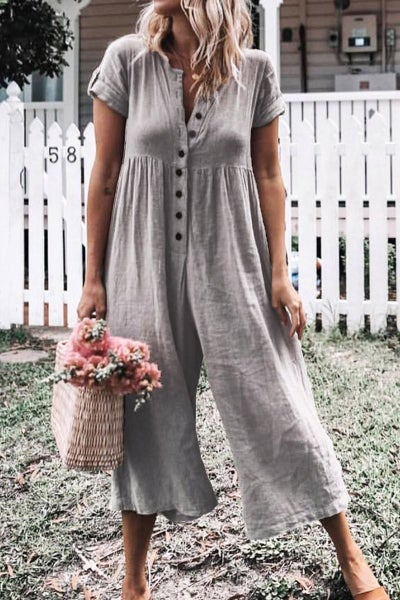 Gray Solid Short Sleeve Casual Romper *Final Sale*