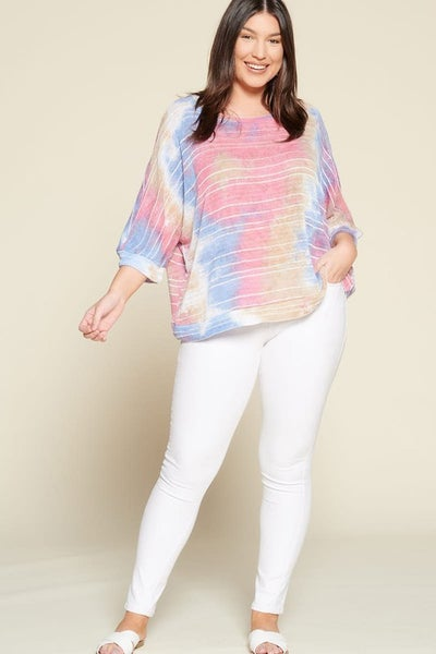 Tie Dye Semi Sheer Knit Pullover