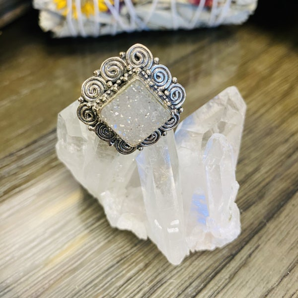 White Druzy Square Ring - Size 9