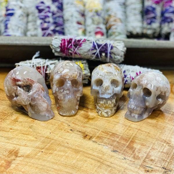 Flower Agate Skulls - Large