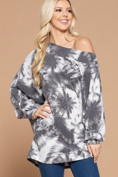 Soft Tie Dye Cashmere Printed Off Shoulder Top with Dolman Sleeves